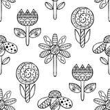 Wektorowa ręka rysujący bezszwowy wzór, dekoracyjni stylizowani czarny i biały dziecięcy kwiaty Doodle nakreślenia styl, graficzn Zdjęcia Royalty Free