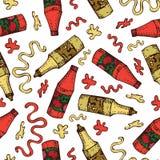 Wektorowa ręka rysujący bezszwowy wzór ketchup i musztarda Pluśnięcia pomidor, plamy i krople ketchup, ilustracja wektor