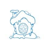 Wektorowa ręka rysujący boże narodzenia lub zima dom ilustracja wektor