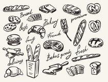 Wektorowa ręka rysujący chleb royalty ilustracja