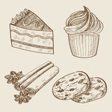 Wektorowa ręka rysujący cukierki royalty ilustracja