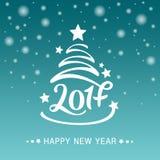 Wektorowa ręka rysujący drzewo z literowaniem 2017 dla bożych narodzeń i nowego roku Kartka Z Pozdrowieniami, zaproszenie szablon Zdjęcie Stock