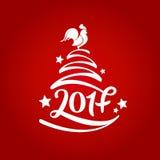Wektorowa ręka rysujący drzewo z literowaniem 2017 dla bożych narodzeń i nowego roku Symbolu 2017 kogut 2007 pozdrowienia karty s Zdjęcia Stock