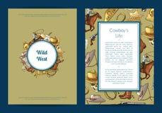 Wektorowa ręka rysujący dzicy zachodni kowbojscy elementy karta lub ulotka szablonu ilustracja royalty ilustracja
