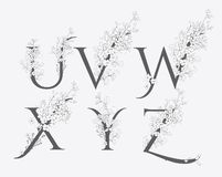 Wektorowa ręka Rysujący kwieciści logo i monogramy royalty ilustracja