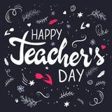 Wektorowa ręka rysujący literowanie z gałąź, zawijasami, kwiatami i wycena, - szczęśliwy nauczyciela dzień ilustracja wektor