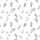 Wektorowa ręka rysujący lody z liśćmi, jagodami i candys szwem, ilustracji