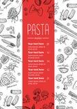 Wektorowa ręka rysujący makaronu menu Rocznik kreskowej sztuki ilustracja Fotografia Royalty Free