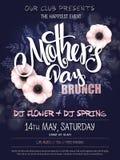 Wektorowa ręka rysujący matka dnia wydarzenia plakat z kwitnącym anemonowym kwiat ręki literowania tekstem - macierzysty ` s dzie Obrazy Royalty Free