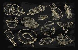 Wektorowa ręka rysujący mięso Zdjęcia Royalty Free