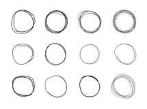 Wektorowa ręka Rysujący okręgi, Czarni Puści Round kształty Odizolowywający na Białym tle ilustracja wektor