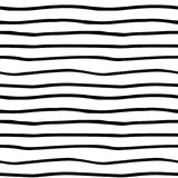 Wektorowa ręka rysujący organicznie bezszwowy wzór Czerni doodles kontur na białym tle Obrazy Royalty Free