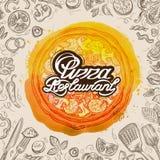 Wektorowa ręka rysujący pizzy restauracyjny nakreślenie i karmowy doodle ilustracja wektor
