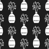 Wektorowa ręka rysujący plakat w stylu ` Hygge ` i wzór z wazą kwiaty z Skandynawskimi ludowymi wzorami Fotografia Stock