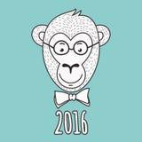 Wektorowa ręka rysujący portret fajtłapy małpa 2016 Szczęśliwych nowy rok g Zdjęcia Royalty Free
