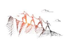 Wektorowa ręka rysujący pracy zespołowej pojęcia nakreślenie ilustracji