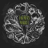 Wektorowa ręka rysujący rolni warzywa Round rabatowy skład Pomidor, cebula, kapusta, pieprz, leek Chalkboard styl ilustracji
