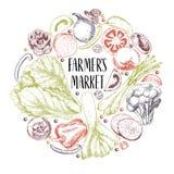 Wektorowa ręka rysujący rolni warzywa Round rabatowy skład Pomidor, cebula, kapusta, pieprz, leek Grawerująca sztuka organicznie ilustracji