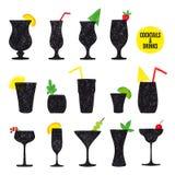 Wektorowa ręka rysujący set koktajle i alkohol Zdjęcia Royalty Free