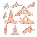Wektorowa ręka rysujący set mudras Odizolowywający na bielu joga duchowość royalty ilustracja