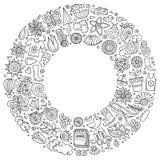 Wektorowa ręka rysujący set wiosny kreskówki doodle protestuje Zdjęcia Stock
