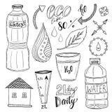 Wektorowa ręka rysujący set woda i przetwarza ikony Zdrowa kolekcja z bidonami Pije więcej wodnego pojęcie royalty ilustracja