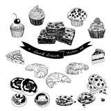 Wektorowa ręka rysujący set z tortami i cukierkami Obraz Stock