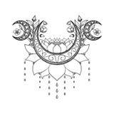 Wektorowa ręka rysujący tatuażu projekt Półksiężyc księżyc, lotosu i kwiatów skład, Święty temat royalty ilustracja