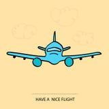 Wektorowa ręka rysujący wizerunku samolot Żółty tło Fotografia Royalty Free