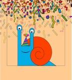 Wektorowa ręka rysujący wzór z stylizowanymi kreskówka ślimaczkami na lekkim tle śmieszny ślimaczek kreskówki kartka z pozdrowien royalty ilustracja