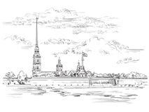 Wektorowa ręka rysuje ST Petersburg 6 royalty ilustracja