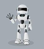 Wektorowa realistyczna ilustracja biały robot Jeden ręka up Obrazy Stock