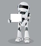 Wektorowa realistyczna ilustracja biały robot Pastylka w rękach Zdjęcia Stock
