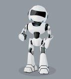 Wektorowa realistyczna ilustracja biały robot Robot pełno entuzjazm Zdjęcie Stock