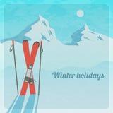 Wektorowa retro ilustracja z śnieżnymi górami i nartami Obrazy Stock