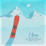 Wektorowa retro ilustracja z śnieżnymi górami i snowboard Fotografia Stock