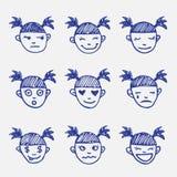Wektorowa ręka rysujący doodle emoticons ustawiający Dziewczyna Obrazy Stock