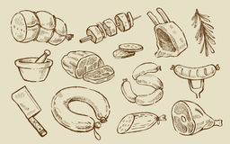Wektorowa ręka rysujący mięso Zdjęcie Stock