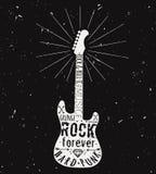 Wektorowa rocznik gitary etykietka z sunburst, diament, kości, strzała Zdjęcia Stock