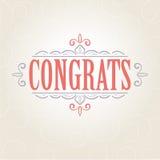 Wektorowa rocznik gratulacj karta Zdjęcie Royalty Free