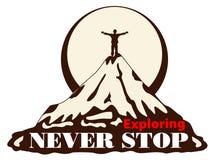 Wektorowa rocznik karta z górą mężczyzna na górze góry Obrazy Stock