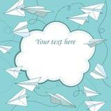 Wektorowa rocznik rama z papierowymi samolotami Zdjęcie Royalty Free