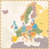 Wektorowa rocznika Europa mapa Obrazy Royalty Free