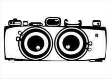 Wektorowa rocznika filmu dwa obiektywów fotografii kamera odizolowywająca na bielu Obrazy Stock