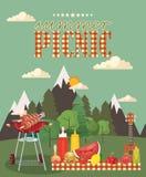 Wektorowa rodzinna pykniczna ilustracja Jedzenia i rozrywki ikony ilustracja wektor