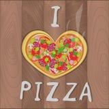 Wektorowa romantyczna pizza na drewnianym tle w, Ja i kochamy pizza tekst Pizza projekt dla romantycznych kart, v Ilustracja Wektor
