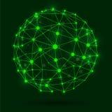 WEKTOROWA rozjarzona ilustracja: druciana ramowa złączona kuli ziemskiej sieć Obraz Stock