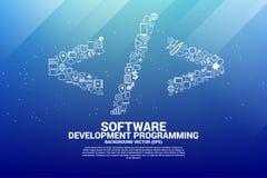 Wektorowa rozwój oprogramowania programowania etykietka z czynnościową oszczędnościową ikoną ilustracji