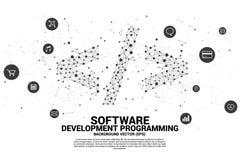 Wektorowa rozwój oprogramowania programowania etykietka z kropką łączy kreskową i czynnościową oszczędnościową ikonę royalty ilustracja