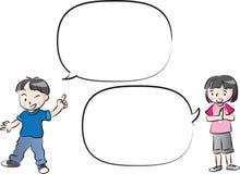 Wektorowa rysunków dzieciaków rozmowa z mowa bąblem ilustracji